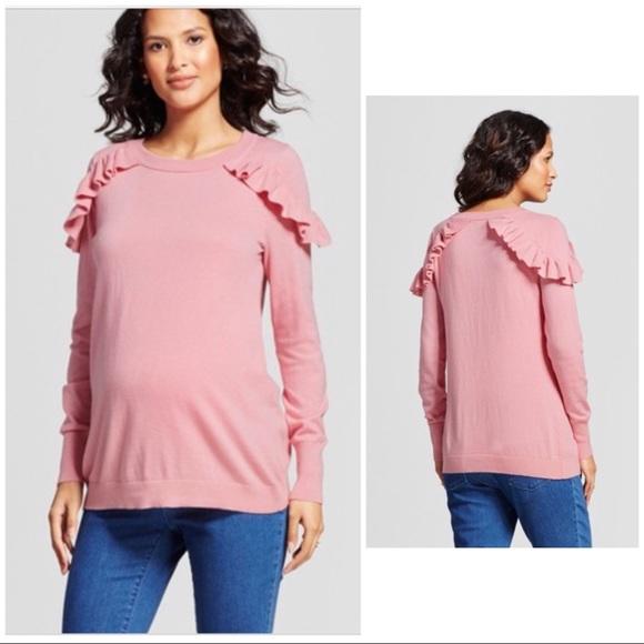 6571db1666f Isabel Maternity Ruffle Shoulder Sweater Size L NWT
